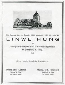 Einladung zur Einweihung der Auferstehungskirche 1933